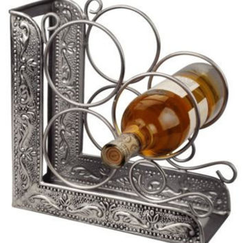 9.75 x 4.75 x 10.75 Antique Embossed Pewter 3 Bottle Wine Rack Bookend