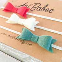 Christmas Bow Headband Set, Red Felt Bow Headband, Green Bow Headband, Christmas Felt Bow headbands, Felt Bow Headband