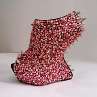 Pink Rhinestone Spiked Wedges (Pink Paradise) READ DESCRIPTION