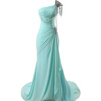Lacemarry One Shoulder Beading Aqua Long Chiffon Prom Dress