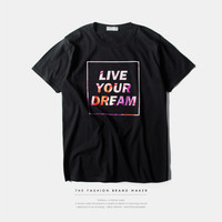 """Live your Dream"" Letter Print Short Sleeve T-Shirt"