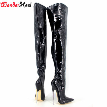 Wonderheel New extreme high heel appr.18cm/7'' heel pointed toe sexy patent leather stiletto metal heel sexy fetish Crotch boots