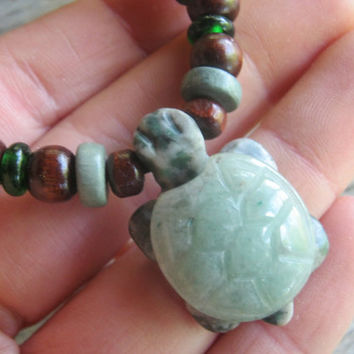 Jade Turtle Necklace, Jade & Jasper Pendant, Eco Friendly, Surfer Necklace, Womens Mens Necklace, Adjustable, Tribal Necklace, READY To SHIP