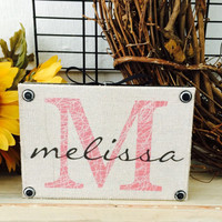 Wood sign / personalized name sign / rustic sign / printed fabric  / country sign / signs for the home / shelf sitter / bedroom decor