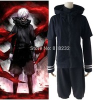 Tokyo Ghoul Kaneki Ken Black Coat Hoodie Shorts Uniform Sportwear Anime Cosplay Costumes