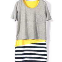 Grey Short Sleeve T Shirt with Yellow Striped Panel Dress