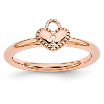 Rose Gold Tone Sterling Silver Stackable 7mm Heart Padlock Ring