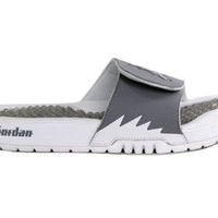 Nike Jordan Hydro V Retro Sandals. Color: White / Cement Grey / Metallic Platinum 555501-100 (SIZE: 8)