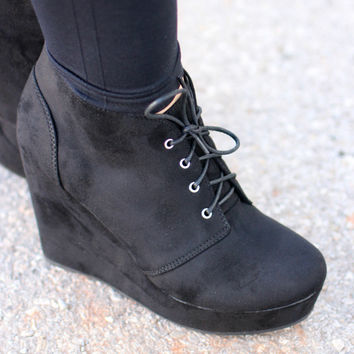 Play It Cool Faux Suede Wedge Booties ~ Black