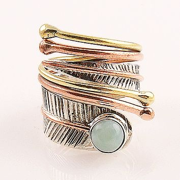 Larimar Sterling Silver Three Tone Adjustable Wrap Ring
