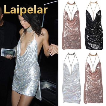 Laipelar 2018 Sexy Sleeveless Deep-V Halter Split Sequin Dress V Neckl Backless Christmas Party Dress Bandage Halter Clothes