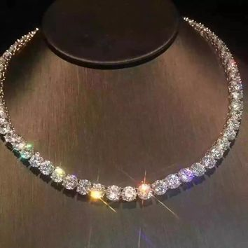 Circle Love,14K 585 White Gold 25ct DEF Color 4mm Lab Grown Moissanite Diamond Necklace