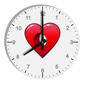 "Hole Heartedly Broken Heart 8"" Round Wall Clock with Numbers by TooLoud"