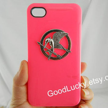 Mockingjay,iPhone 5c,caseCatching fire,Mockingjay pin Iphone case,Games,studded iPhone 4 /5 case,Hunger,hot pink,Jewelry,iPhone 4s case