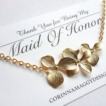 Triple orchid necklace, mother's day, wife, sister, daughter, bridesmaid gift, beach wedding jewelry, maid of honor