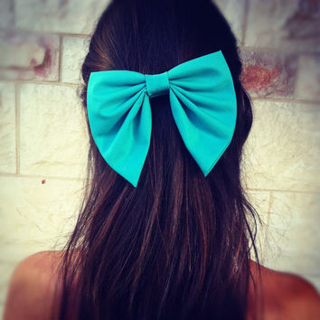 BIG Turquoise unique hair bow by colordrop on Etsy