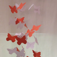 FREE US SHIPPING! Orange and white butterfly paper mobile.  Baby Nursery mobile, Crib mobile. Boy/Girl/Teen/Tween mobile. Dorm,all occasion