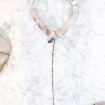 Flora Silk Adjustable Lariat Necklace (Choose Your Crystal)