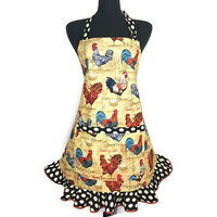 Rooster Apron for Women with Egg Ruffle , French Country Kitchen Decor , Adjustable