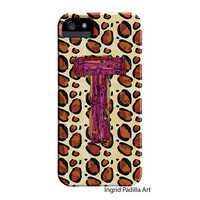 Funky Animal print Case, T Monogramed Phone case, Personalized, Letter T iPhone Case, iPhone 5 case, Galaxy S3, Galaxy S4, by Ingrid Padilla