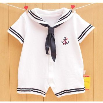 Baby Boys White & Navy Sailor Short Sleeve Romper