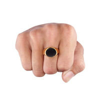 Signet Ring Gold - 1082 - Circle ring, black ring, circle black ring, mens ring, womens ring, signet ring, signet black ring, gold mens ring