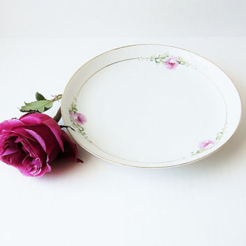 KPM Silesia Vintage Serving Plate Edwardian Era China Hand Painted Porcelain Pink Roses Shabby Chic Home Decor Romantic Dainty Delicate