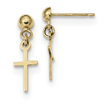 10k Polished Cross Dangle Post Earrings 10ER297