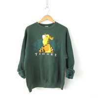 Tigger the Tiger sweatshirt Oversize Baggy sweater Green sweatshirt Disney Winnie the Pooh Novelty Sweater Size Medium