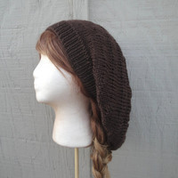 Oversized Slouch Hat, Slouchy Beanie, Dark Brown, Knit Slouch Hat, Large Loose Maxi Dreadlocks, Women