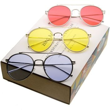 Mid Century Round Metal Color Lens Aviator Sunglasses A871 [3 Pack]