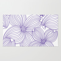 Dogwood Big Linear Floral: Lavander (purple) Ivory Area & Throw Rug by Eileen Paulino