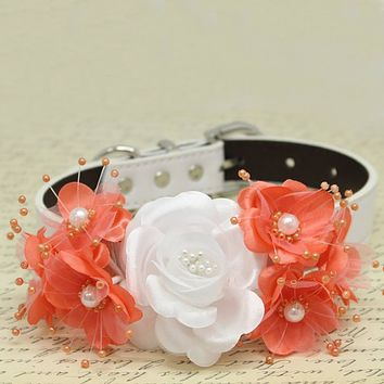 White and Coral Floral Dog Collar, Pets Wedding Accessory, Rose Flowers with Pearls, Puppy Love