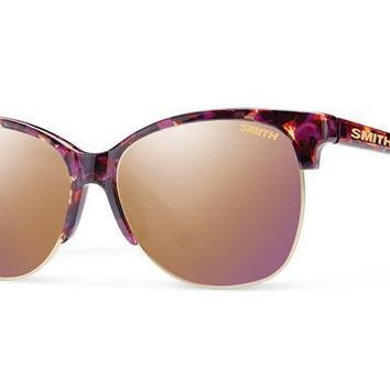 Smith - Rebel Flecked Mulberry Tortoise Sunglasses, Rose Gold Mirror Lenses