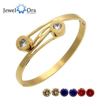 DCCKFV3 4 colors /set Fashion Roman Numerals Cuff Bangles Gold Color Stainless Steel Bracelets & Bangles For Women (JewelOra BA101620)