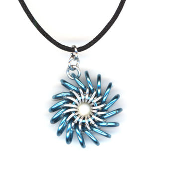 Pendant Silver and Aqua Blue, Long Cord Necklace, Whirligig, Whirlybird Style Chainmaille