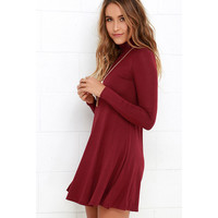 High-Necked Knit Dress in Red Wine or Gray