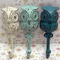 Owl Trio Set Wall Hooks Chunky Big Eyed Woodsy Cast Iron Shabby Style Chic White Beach Blue Lagoon Aqua Towel Jewelry Leash Rustic Woodland