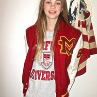 London Loves LA — Red + White Mike Letterman Jacket