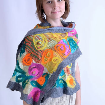 Light, airy, colorful nuno felt scarf with gray edges - multicolor, lightweight, stylish & chic shawl made of wool and silk fabric [S102]
