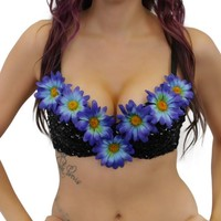 Deep Sea Daisy Sequin Bra