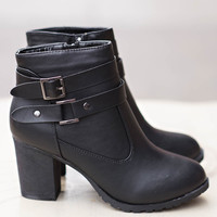 Don't Distract Me Black Buckle Booties