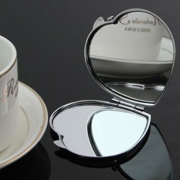 New Heart Shape Compact Two-sided Make Up Mirror Cosmetic Pocket Beauty Mirror Cheap Fine crayon
