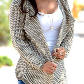 Turn-Down Collar Long Sleeve Printed Cardigan
