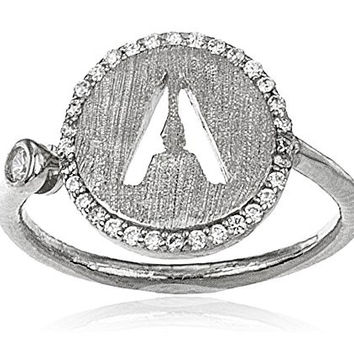 Real 925 Sterling Silver Letters of the Alphabet with Cz Stones Adjustable Ring (A Silver)