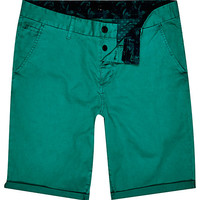 River Island MensGreen slim chino shorts