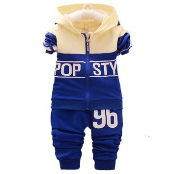 Spring Autumn Baby Boys Girls Tracksuits Fashion Children Hooded Jacket Pants 2Pcs Sets Kids Brand Clothes Toddler Clothing Suit