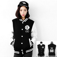 2016 Jacket EXO Boys Luhan Kris Chanyeol Sweatshirt Tracksuit Winter Autumn Long Sleeve Women Hoodies Outerwears Baseball Jacket