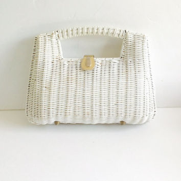 Vintage White Wicker Purse White Clutch With Handle Vinyl Wicker Vinyl Handbag Sculptural Bag Box Purse 60s Clutch 70s Clutch
