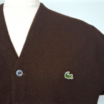 L Vintage Lacoste Izod Cardigan Brown Sweater / Lacoste Brown Button Down Sweater / Vintage Lacoste / Vintage Izod / Alligator Sweater